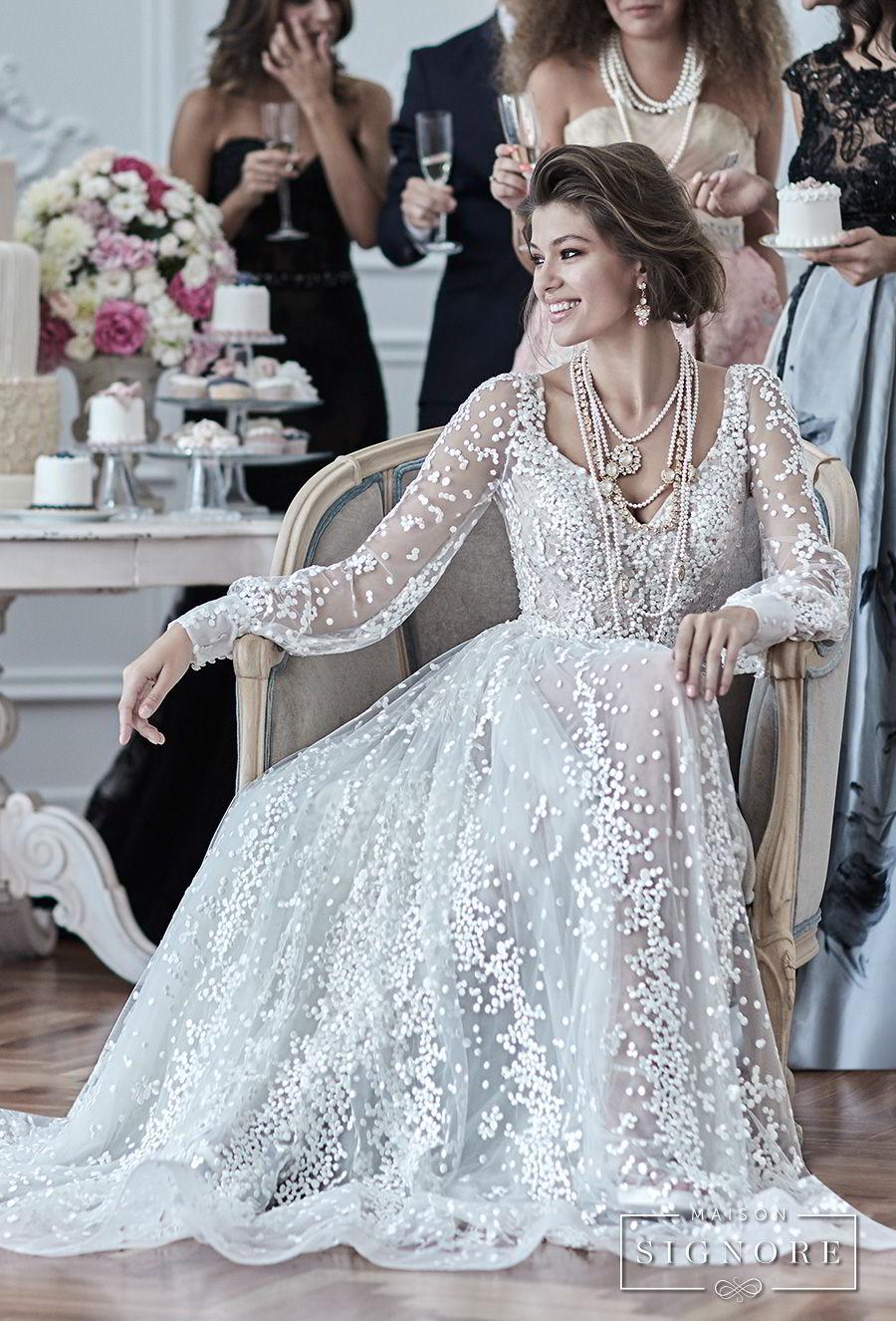 maison signore 2018 bridal long sleeves v neck full embellishment elegant a line wedding dress open back sweep train (drusilla) mv