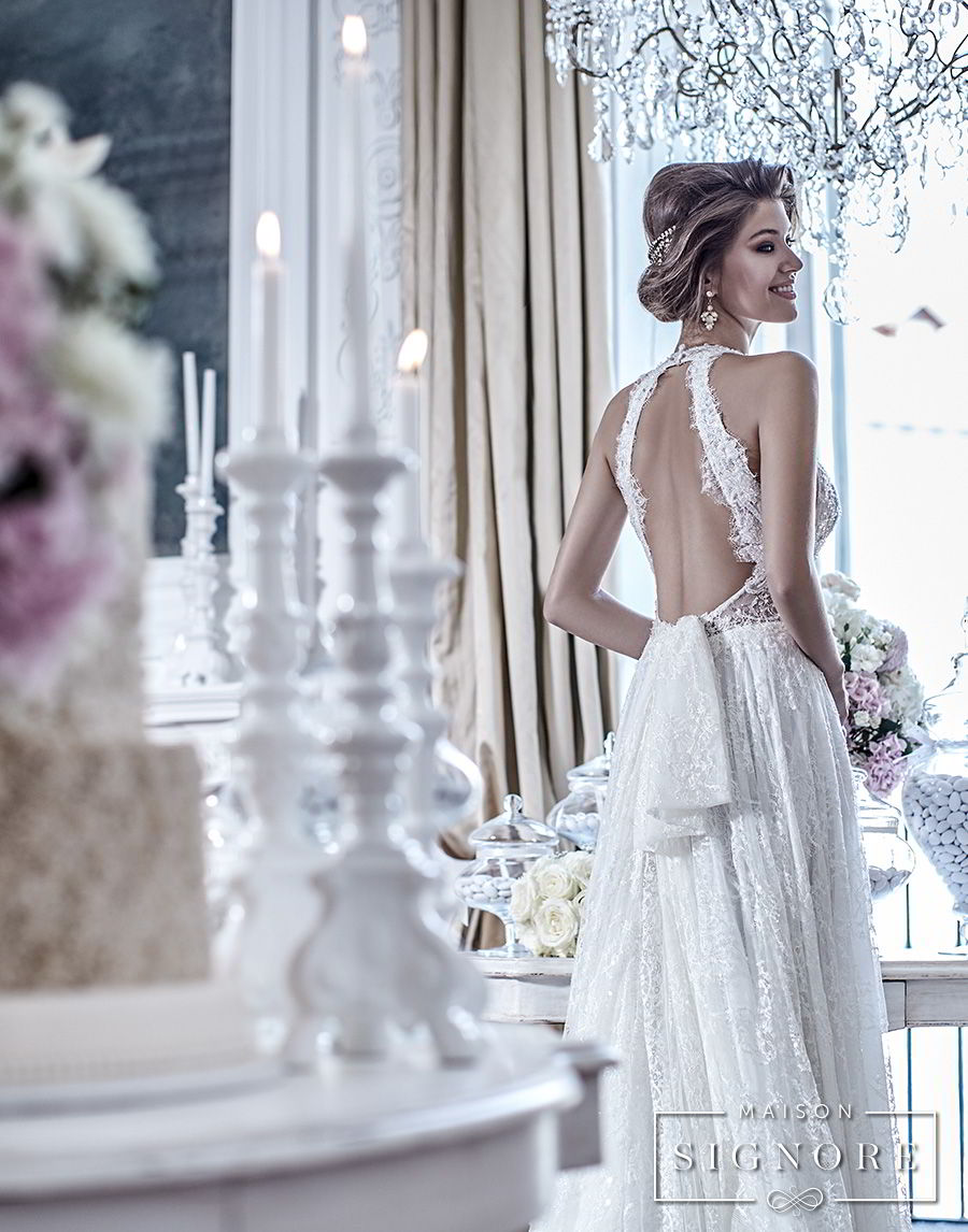 maison signore 2018 bridal sleeveless deep plunging sweetheart neckline full embellishment elegant romantic a line wedding dress open back chapel train (doris) bv