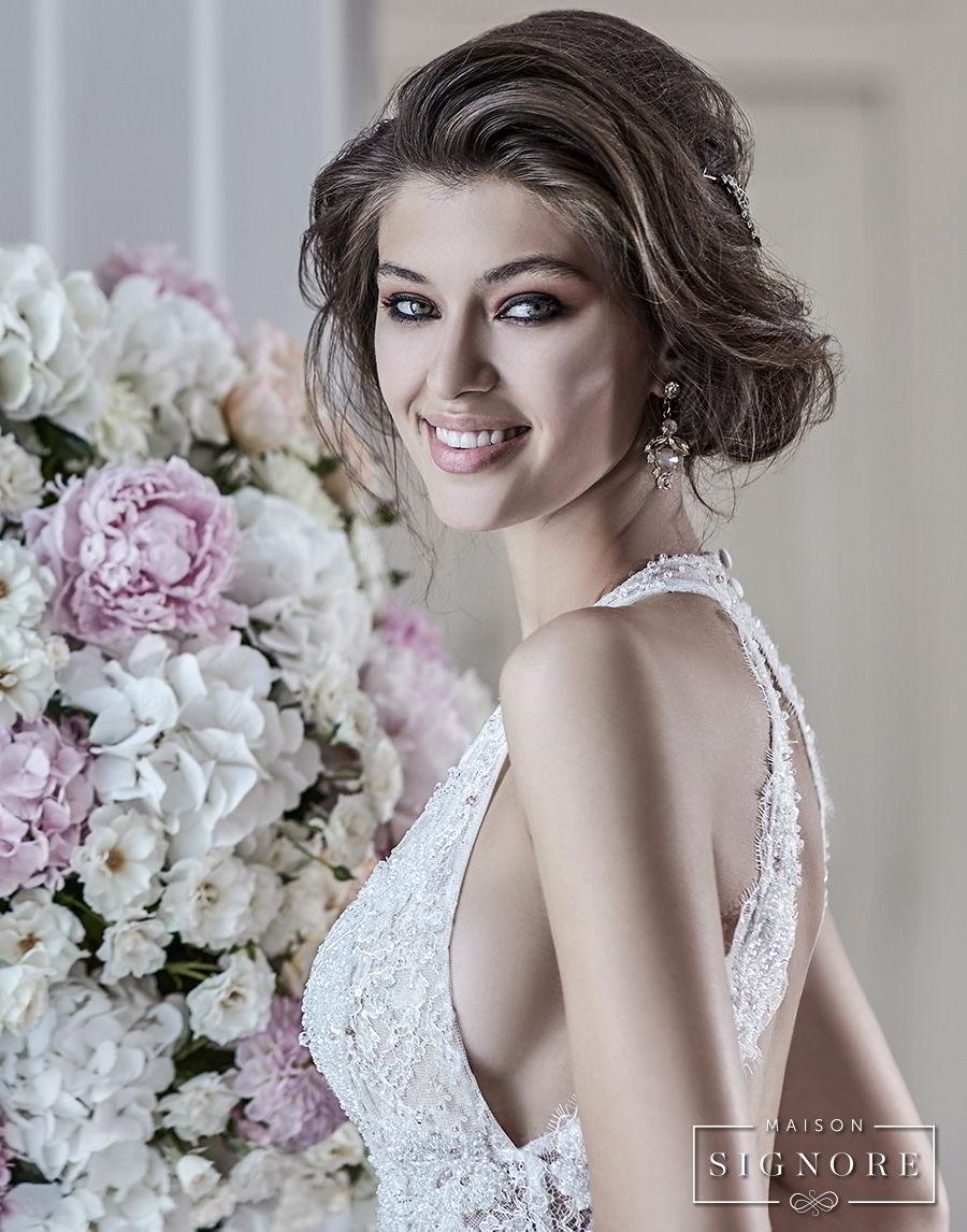 maison signore 2018 bridal sleeveless deep plunging sweetheart neckline full embellishment elegant romantic a line wedding dress open back chapel train (doris) zbv