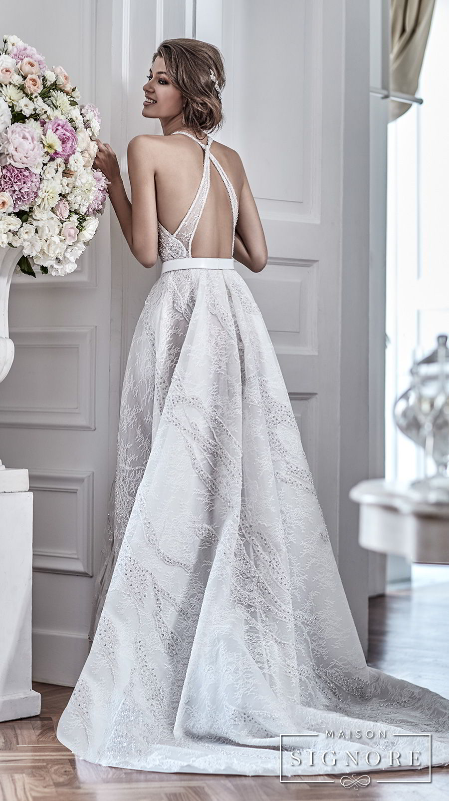 maison signore 2018 bridal sleeveless halter jewel neck full embellishment elegant a line wedding dress with pocket cross strap back chapel train (demy) bv