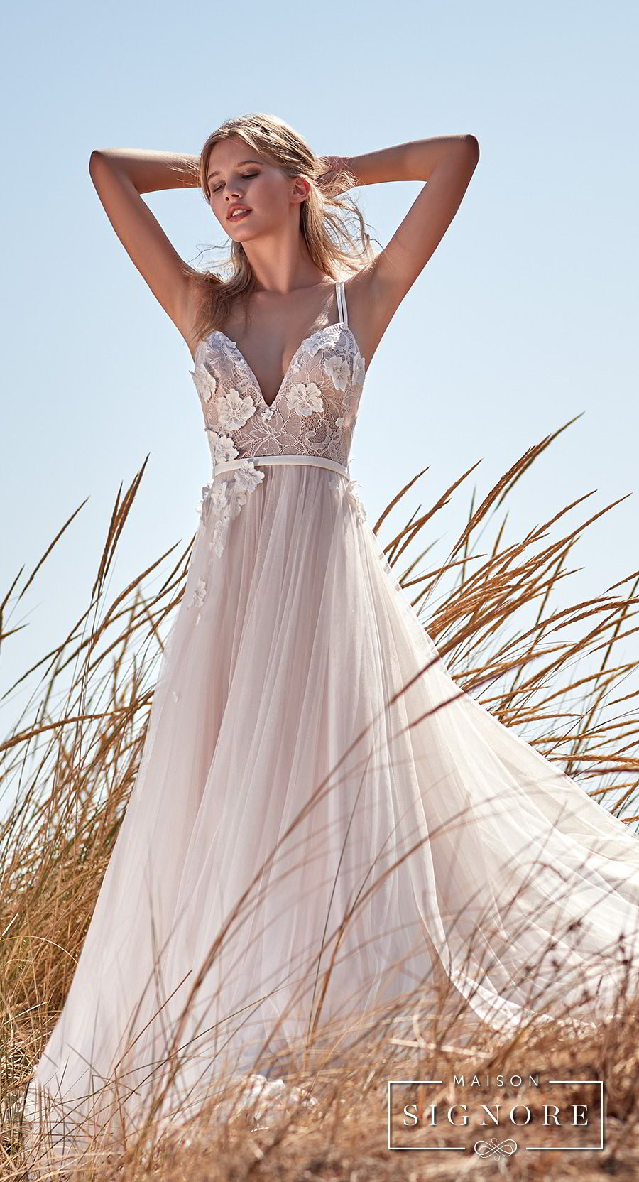 maison signore 2018 bridal thin strap sweetheart neckline heavily embellished bodice tulle skirt romantic a line wedding dress chapel train (caroline) mv