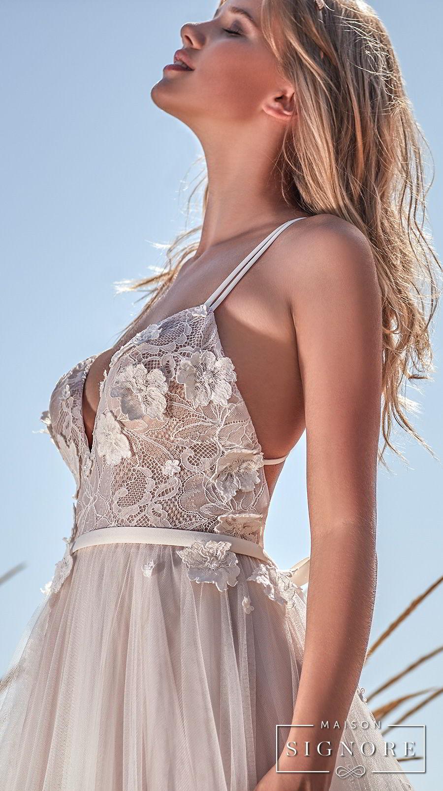 maison signore 2018 bridal thin strap sweetheart neckline heavily embellished bodice tulle skirt romantic a line wedding dress chapel train (caroline) zsdv
