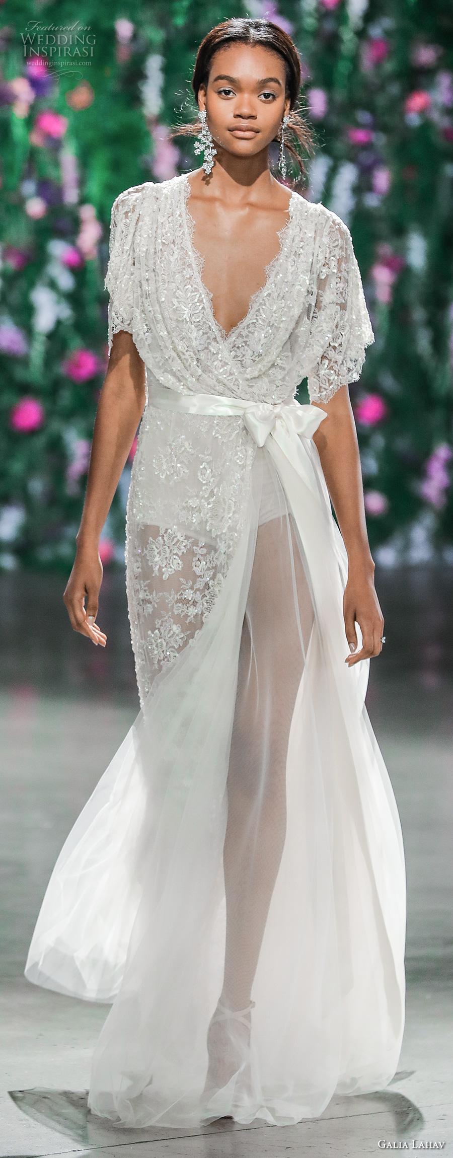 galia lahav fall 2018 bridal half sleeves deep v neck full embellishment elegant romantic sophiscated sheath wedding dress (4) mv