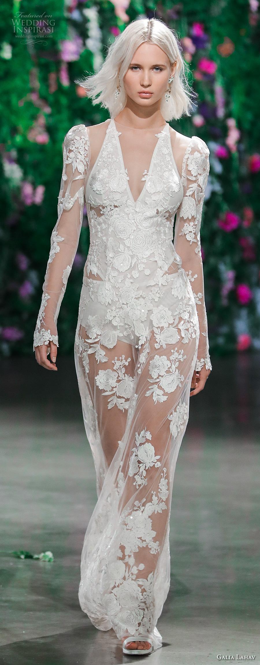 galia lahav fall 2018 bridal long sleeves illusion halter v neck full embellishment elegant sophiscated sheath wedding dress (8) mv
