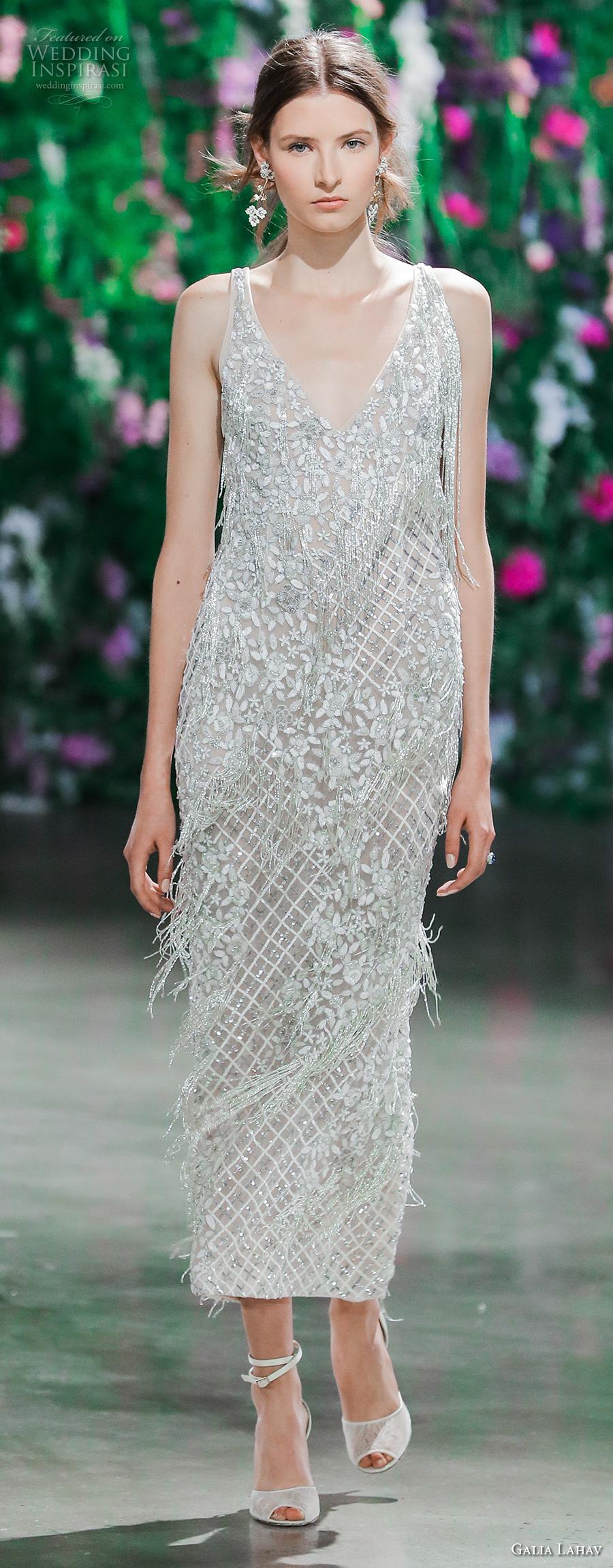 galia lahav fall 2018 bridal sleeveless deep v neck heavily embellished bodice elegant above the knee sheath wedding dress (11) mv