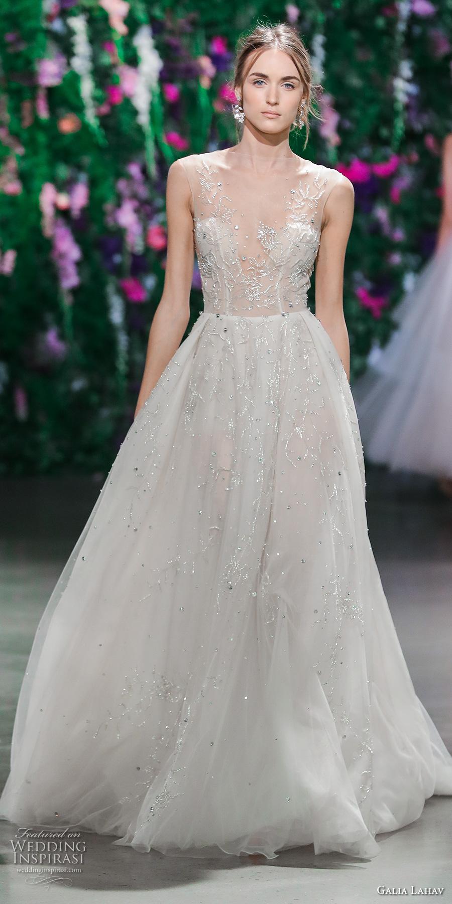 galia lahav fall 2018 bridal sleeveless illusion bateau v neck heavily embellished bodice elegant romantic a line wedding dress (10) mv