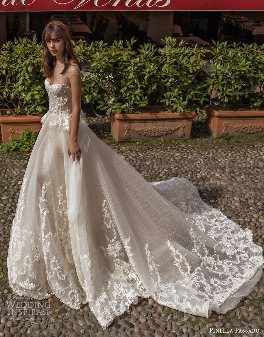 pinella passaro 2018 bridal cap sleeves illusion jewel sweetheart neckline heavily embellished bodice princess romantic ball gown a line wedding dress chapel train (4) mv