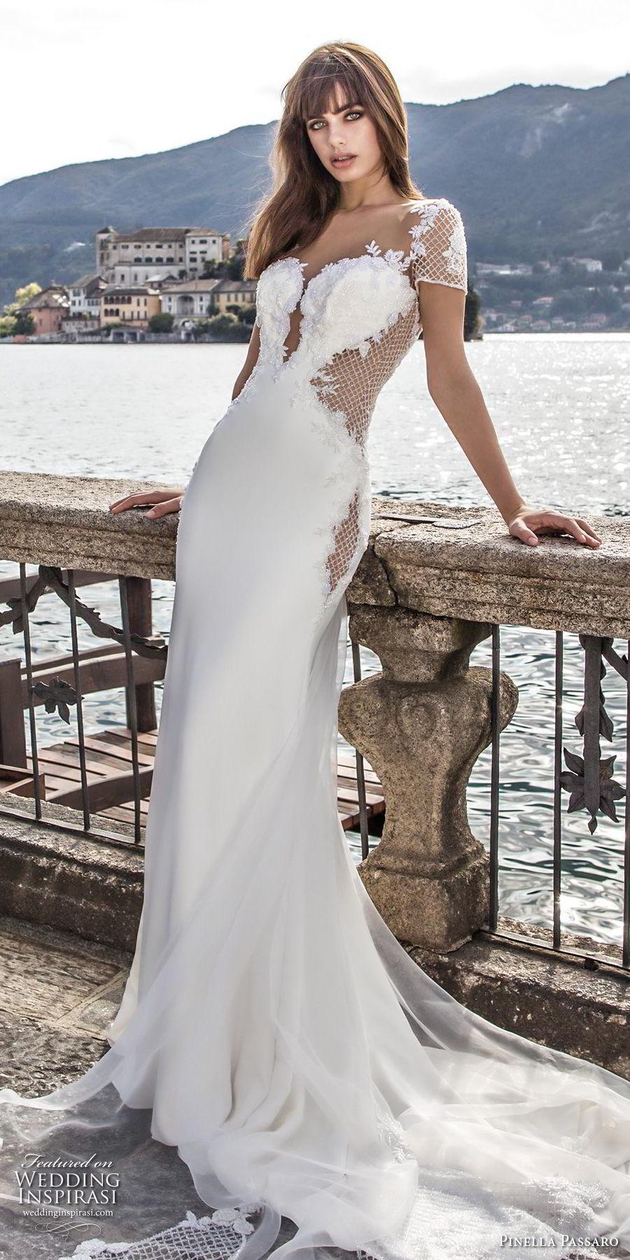 pinella passaro 2018 bridal short sleeves deep plunging sweetheart neckline heavily embellished bodice elegant sheath wedding dress open sheer back chapel train (6) lv