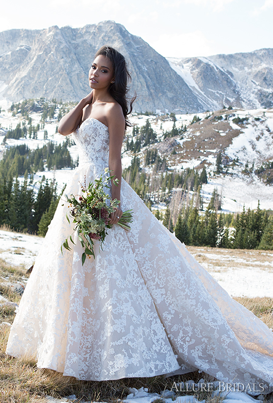 allure bridals 2018 strapless sweetheart neckline full embellishment romantic a line wedding dress long train (c486) mv