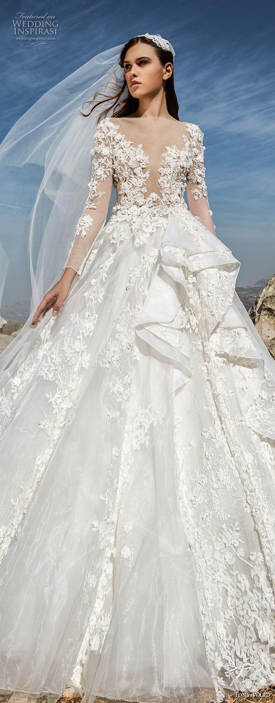 tony ward fall 2018 bridal long sleeves illusion bateau deep plunging sweetheart neckline heavily embellished bodice princess ball gown a line wedding dress (1) lv