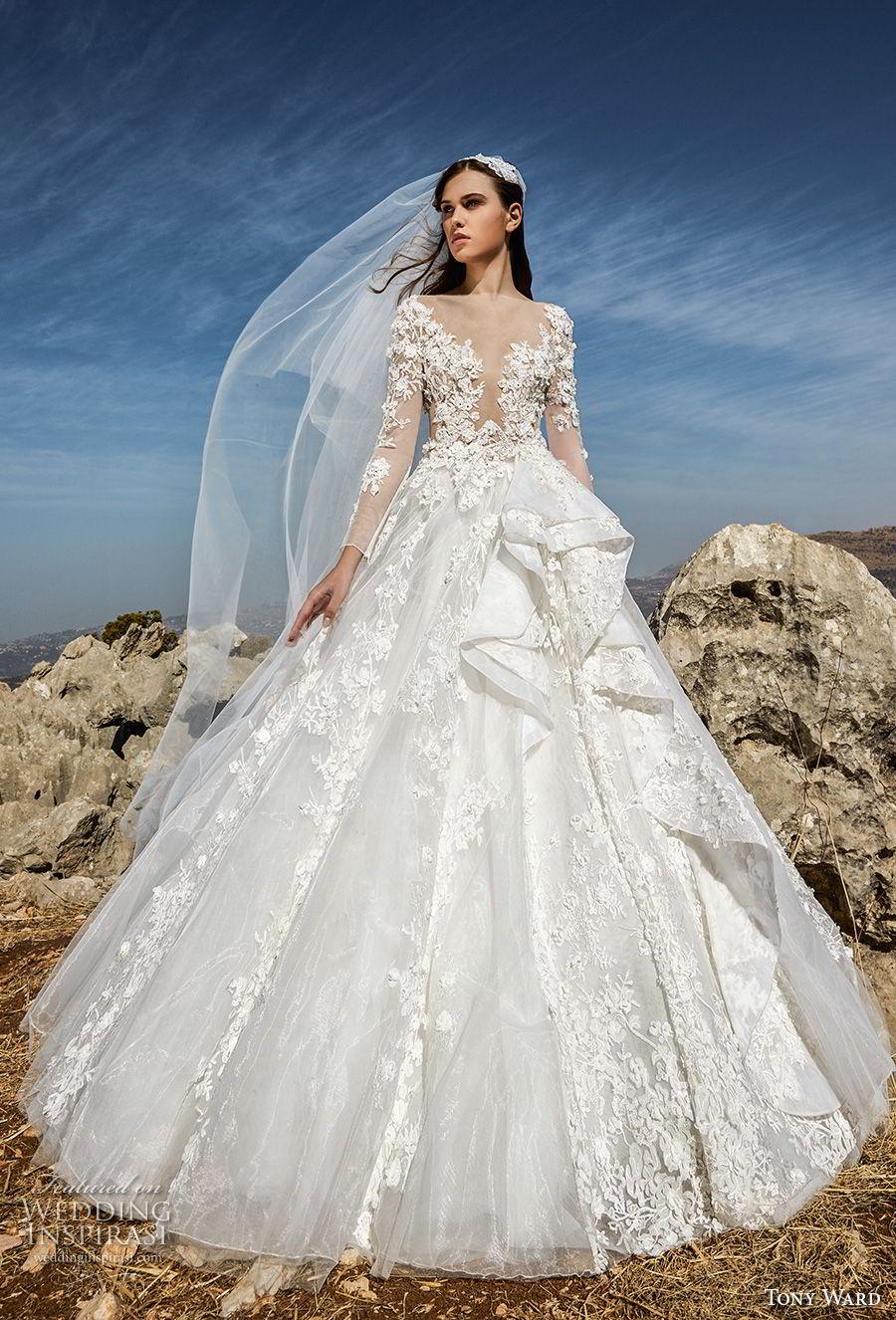 tony ward fall 2018 bridal long sleeves illusion bateau deep plunging sweetheart neckline heavily embellished bodice princess ball gown a line wedding dress (1) mv