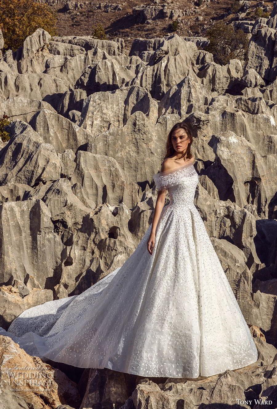 tony ward fall 2018 bridal off the shoulder straight across neckline full embellishment romantic a line wedding dress chapel train (6) mv
