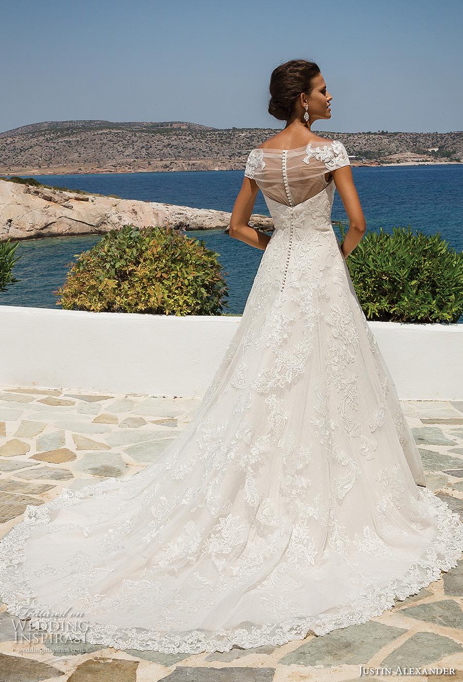 justin alexander 2018 bridal cap sleeves illusion bateau sweetheart neckline full embellishment romantic a line wedding dress sheer button back chapel train (2) bv