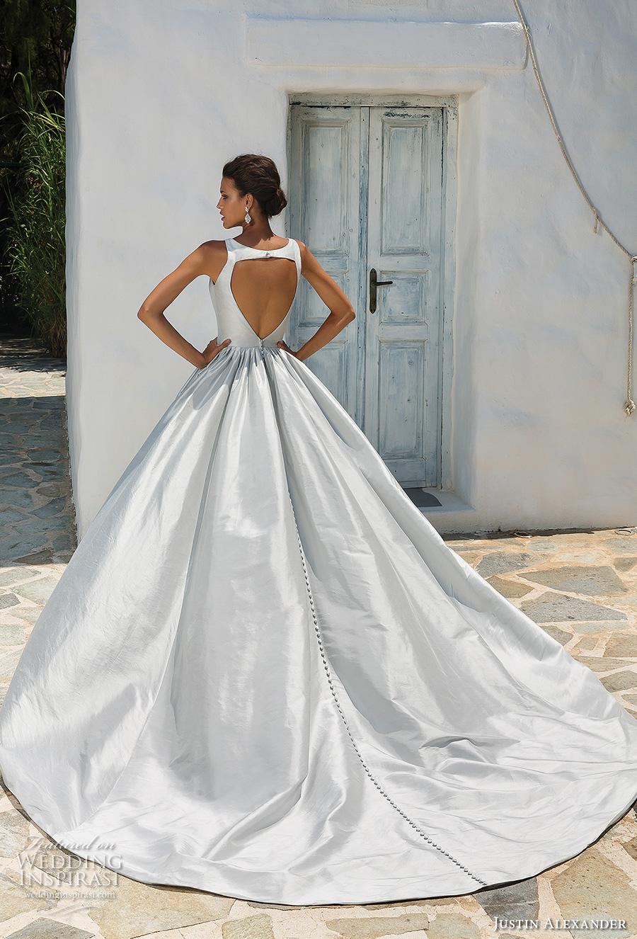 justin alexander 2018 bridal sleeveless deep v neck clean simple satin elegant sexy blue ball gown a line wedding dress with pockets keyhole back chapel train (3) bv