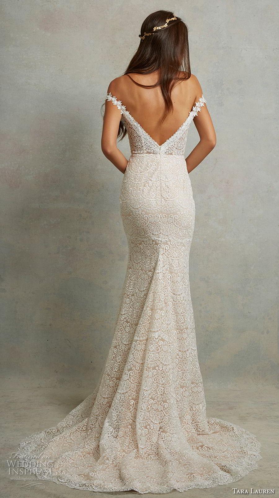 tara lauren spring 2018 bridal off the shoulder sweetheart neckline full embellishment elegant romantic fit and flare wedding dress open v back sweep train (4) bv