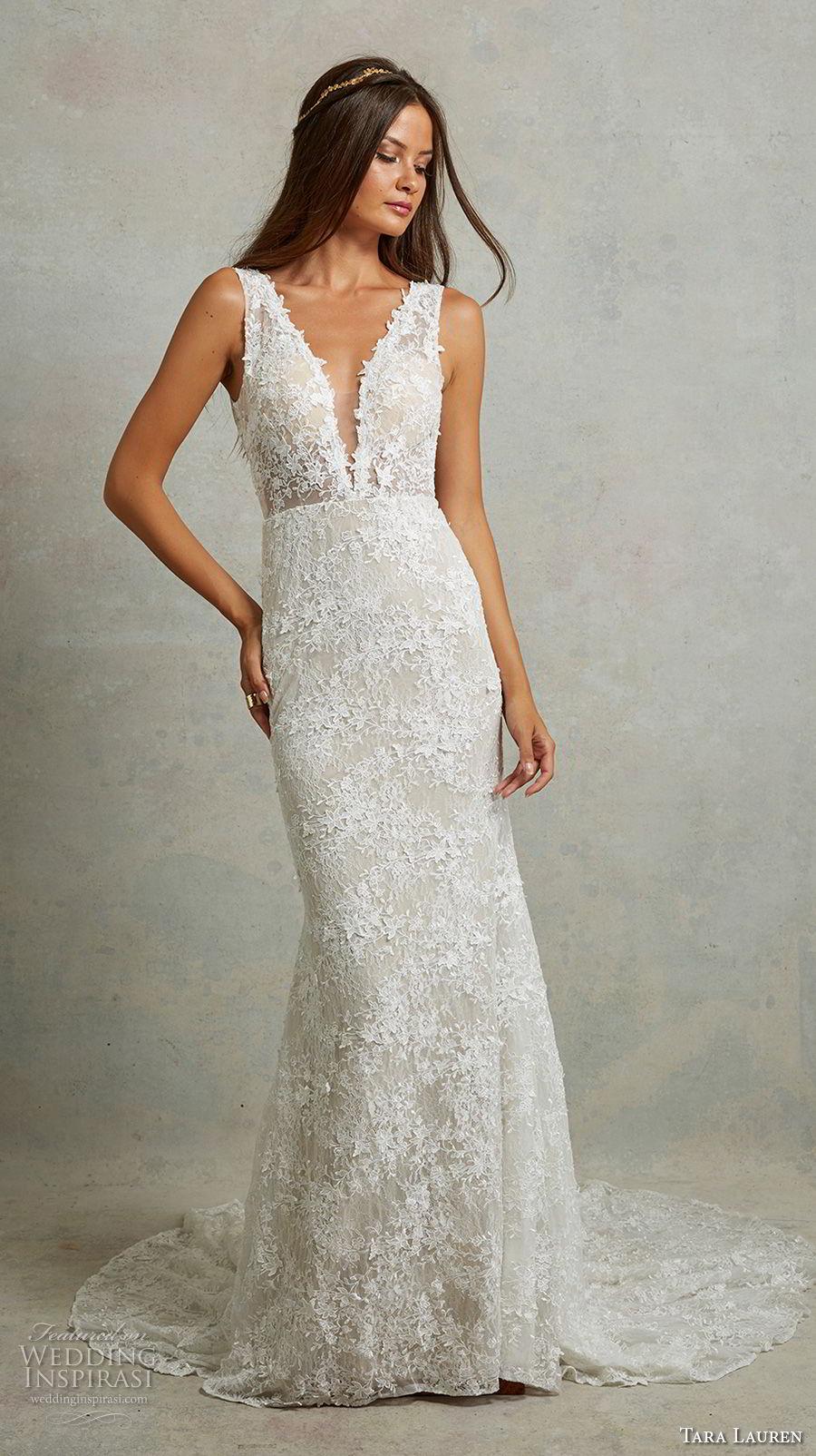 tara lauren spring 2018 bridal sleeveless deep v neck full embellishment elegant sheath wedding dress v back medium train (6) mv