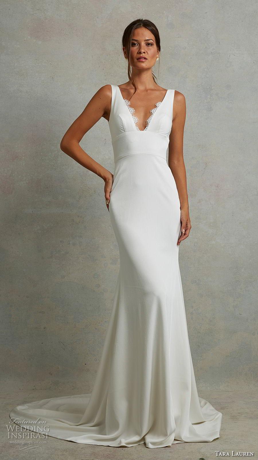 tara lauren spring 2018 bridal sleeveless v neck simple clean elegant fit and flare wedding dress open v back short train (2) mv
