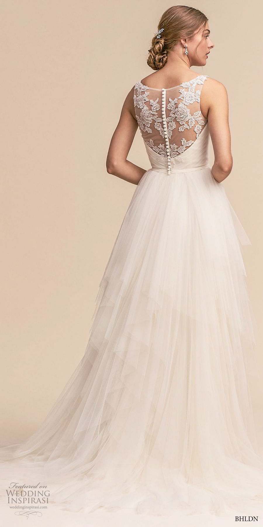 bhldn 2018 whispers bridal sleeveless deep v neck wrap over bodice simple romantic soft a line wedding dress sheer lace back short train (1) bv