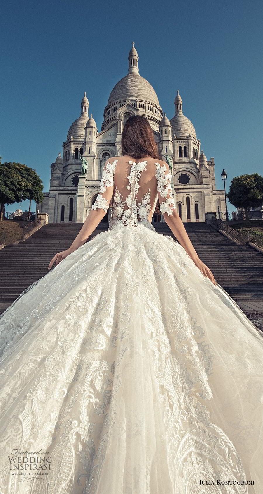 julia kontogruni 2018 bridal half sleeves off shoulder sweetheart neckline full embellishment princess ball gown wedding dress sheer lace back royal train (1) zbv