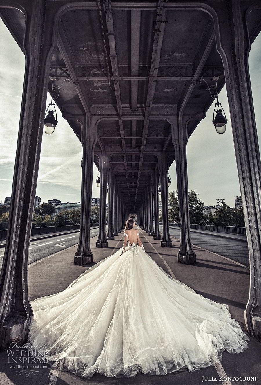 julia kontogruni 2018 bridal long sleeves deep plunging v neck heavily embellished bodice princess ball gown wedding dress open back royal train (2) bv