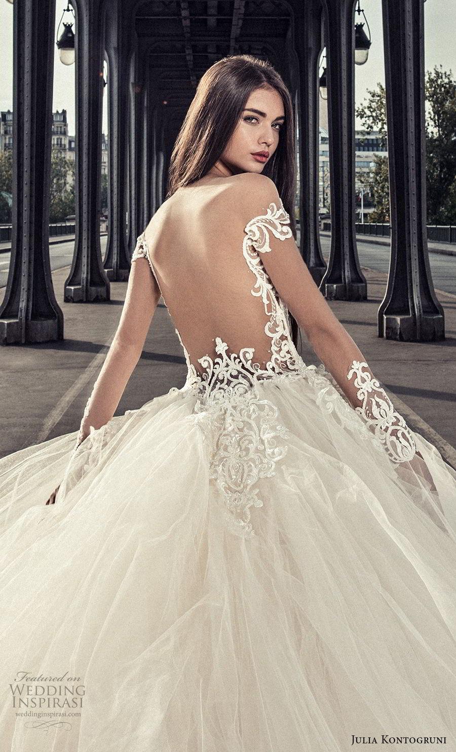 julia kontogruni 2018 bridal long sleeves deep plunging v neck heavily embellished bodice princess ball gown wedding dress open back royal train (2) zbv