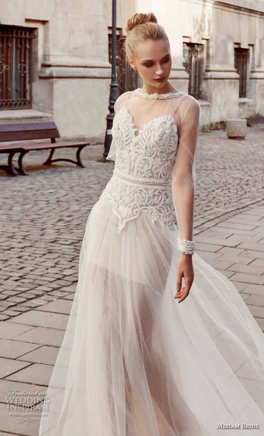 miriams bride 2018 bridal long sleeves illusion jewel sweetheart neckline heavily embellished bodice romantic soft a line wedding dress (2) mv