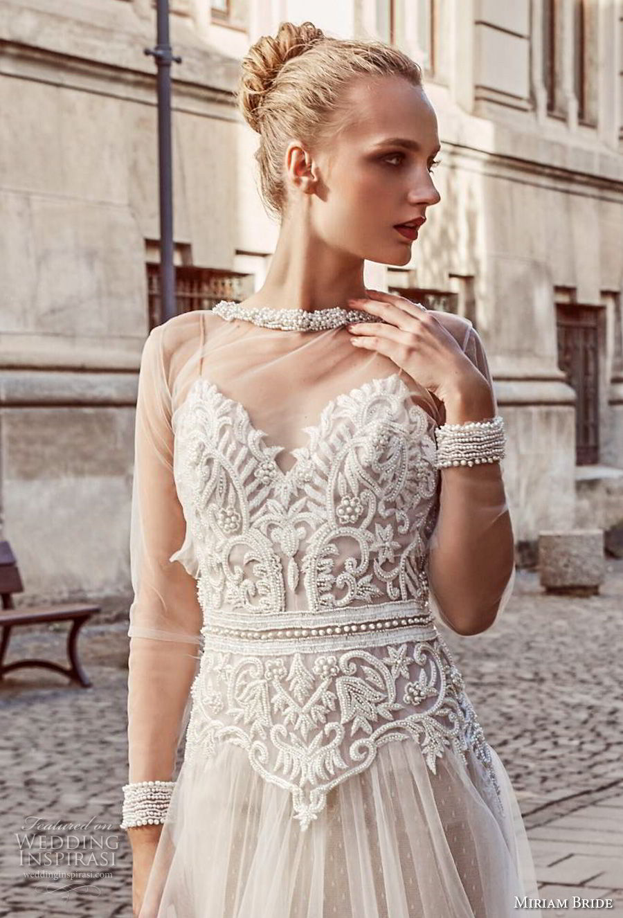 miriams bride 2018 bridal long sleeves illusion jewel sweetheart neckline heavily embellished bodice romantic soft a line wedding dress (2) zv