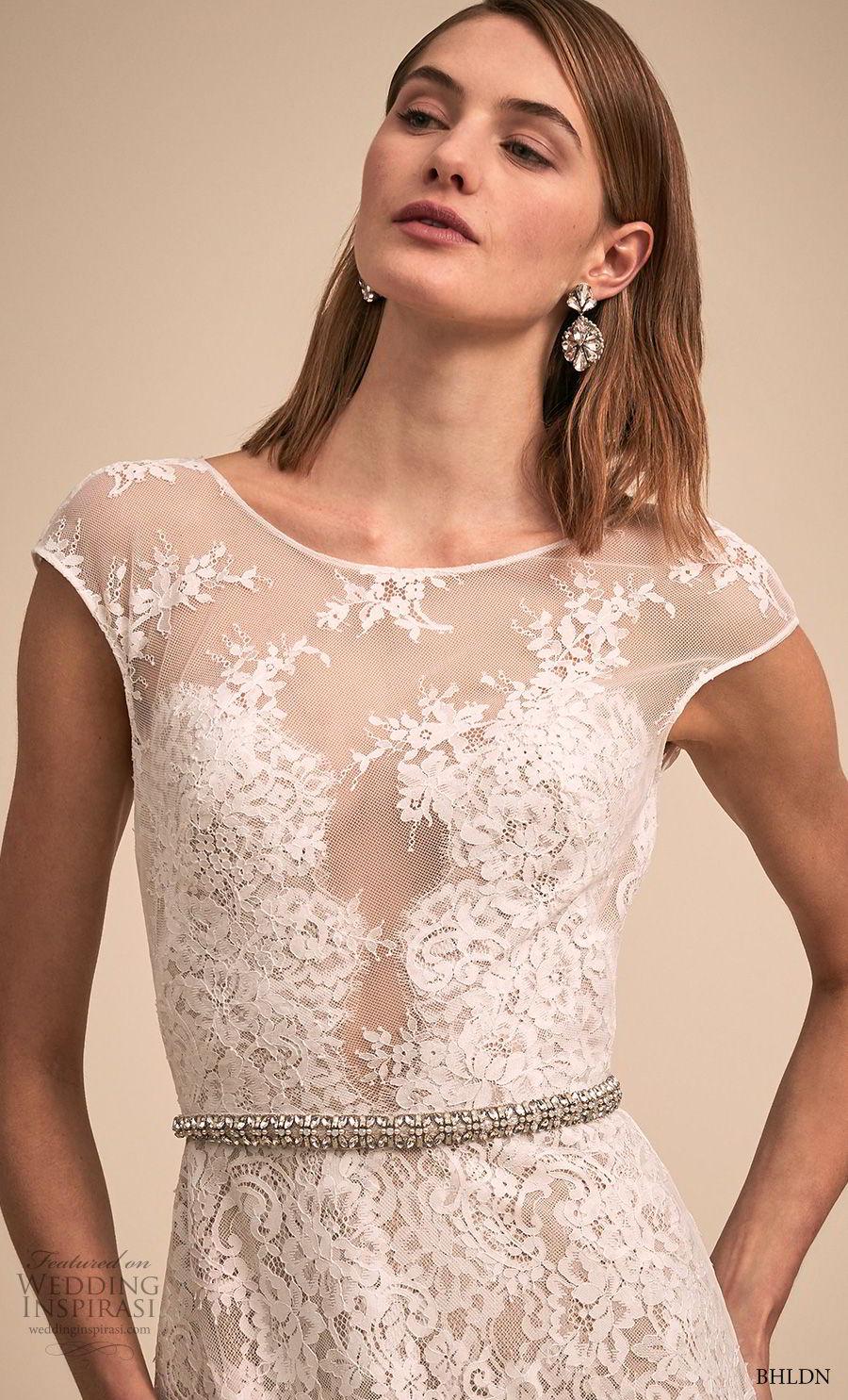 bhldn 2018 bridal cap sleeves bateau neckline full embellishment romantic soft a line wedding dress v back short train (4) zv
