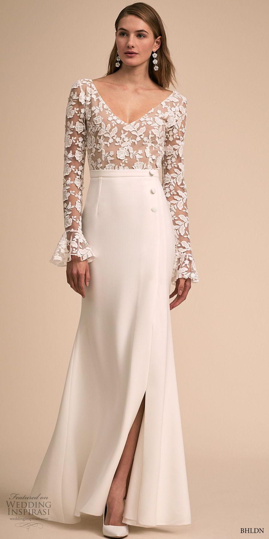 bhldn 2018 bridal long poet sleeves v neck heavily embellished bodice slit skirt elegant modified a line wedding scoop back dress sweep train (3) mv