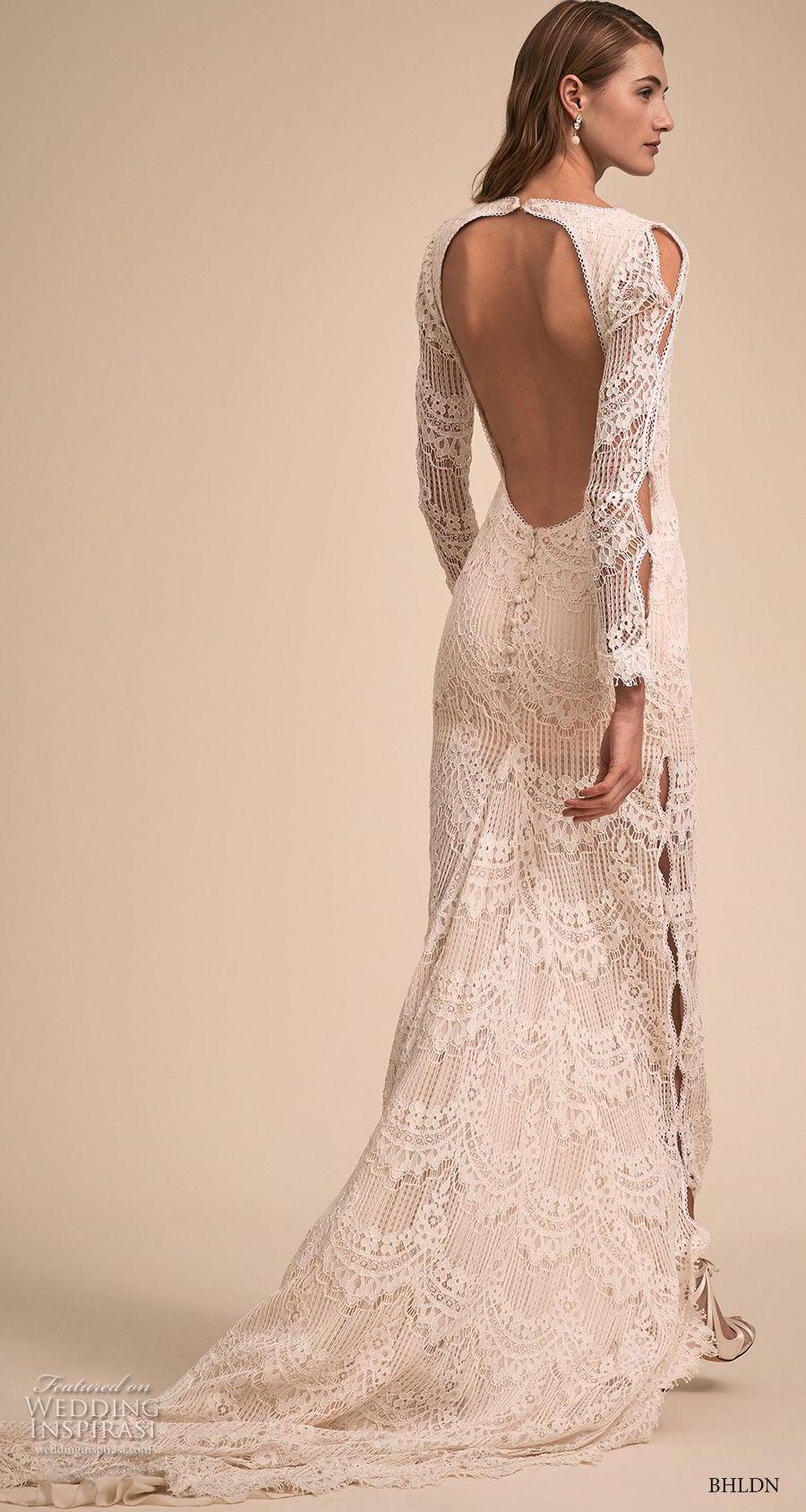 bhldn 2018 bridal long sleeves v neck full embellishment bohemian sheath wedding dress keyhole back short train (1) bv