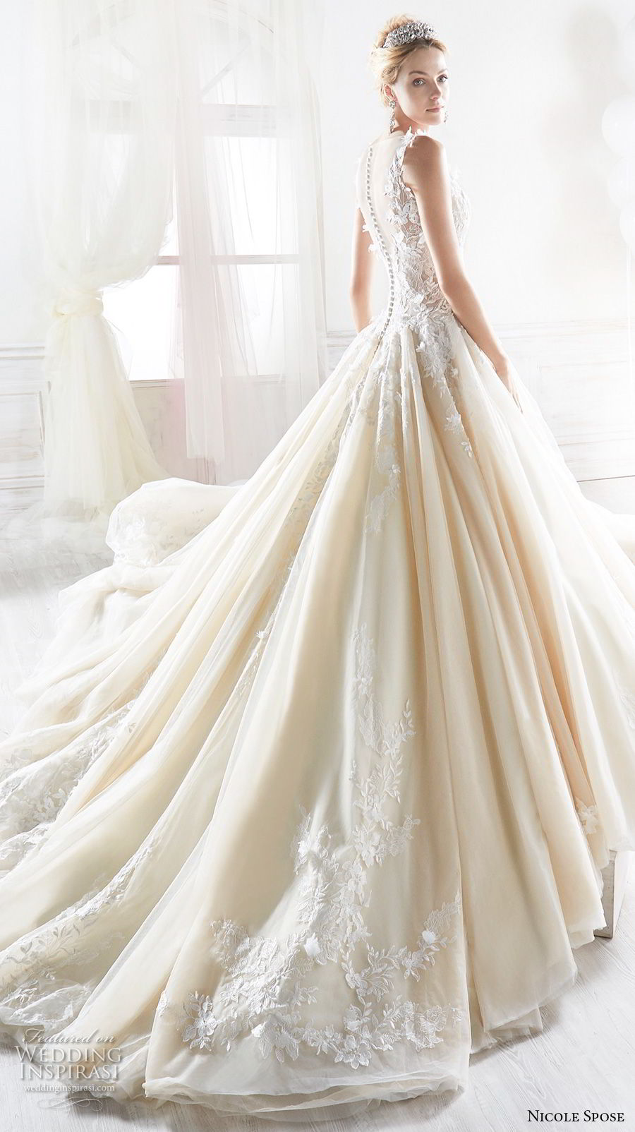 nicole spose 2018 bridal sleeveless illusion bateau v neck heavily embellished bodice princess champagne a line wedding dress sheer button back royal train (5) bv