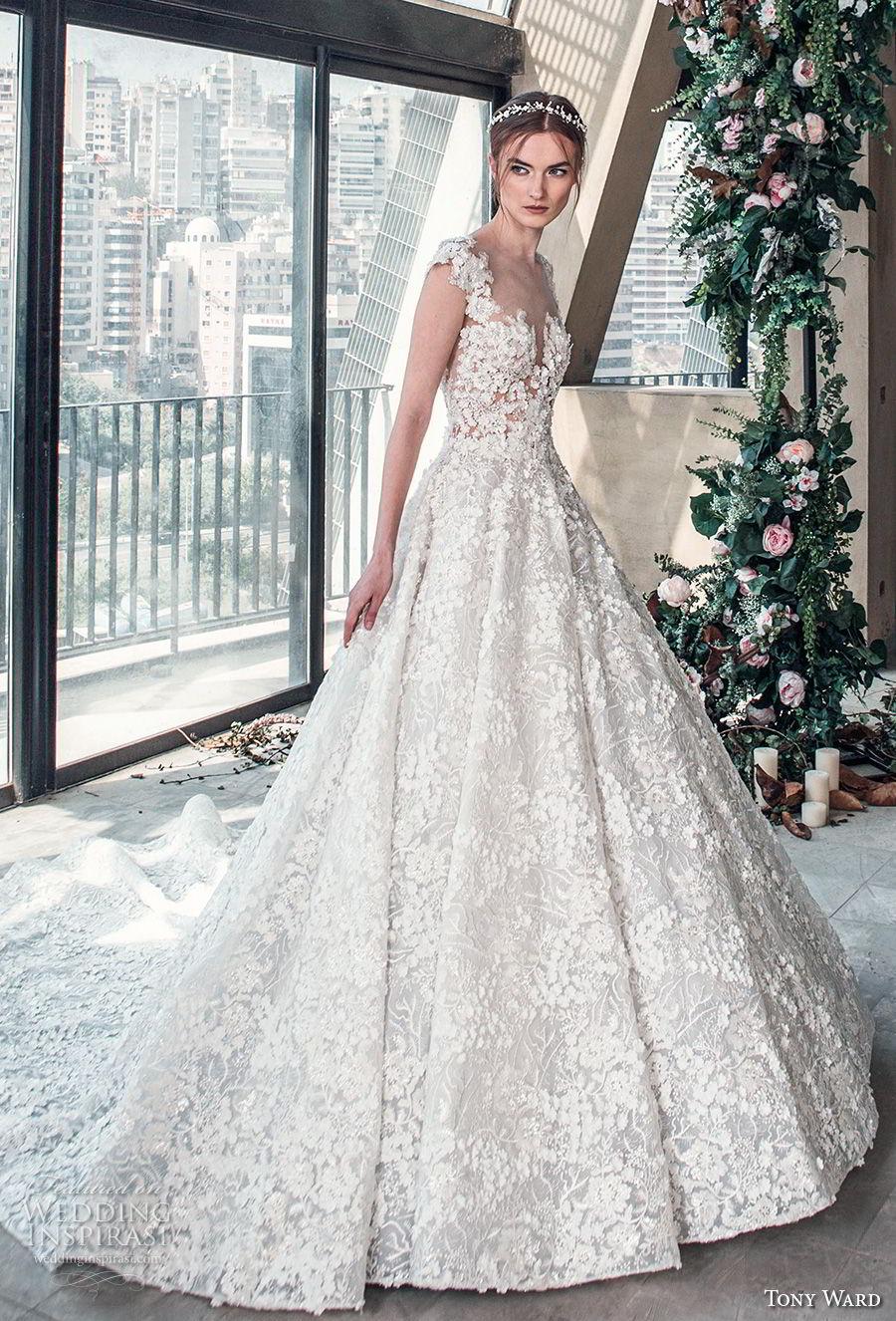 tony ward mariee 2019 cap sleeves sweetheart neckline full embellishment romantic princess ball gown a line wedding dress chapel train (6) mv