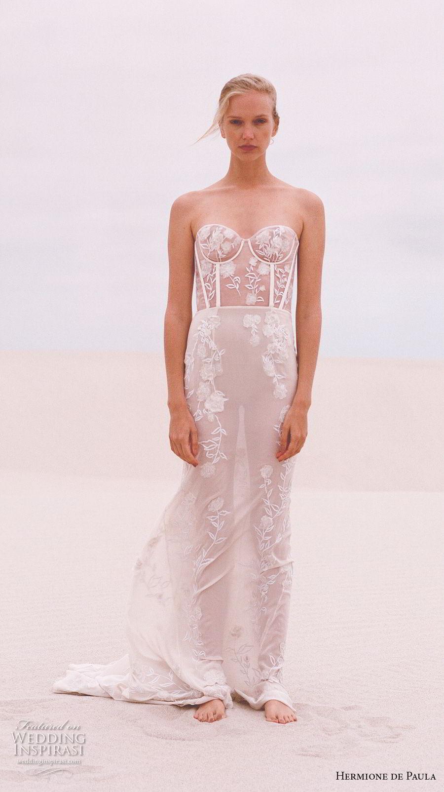 hermione de paula spring 2019 bridal strapless sweetheart neckline full embellishment bustier sexy romantic soft a line wedding dress sweep train (2) mv