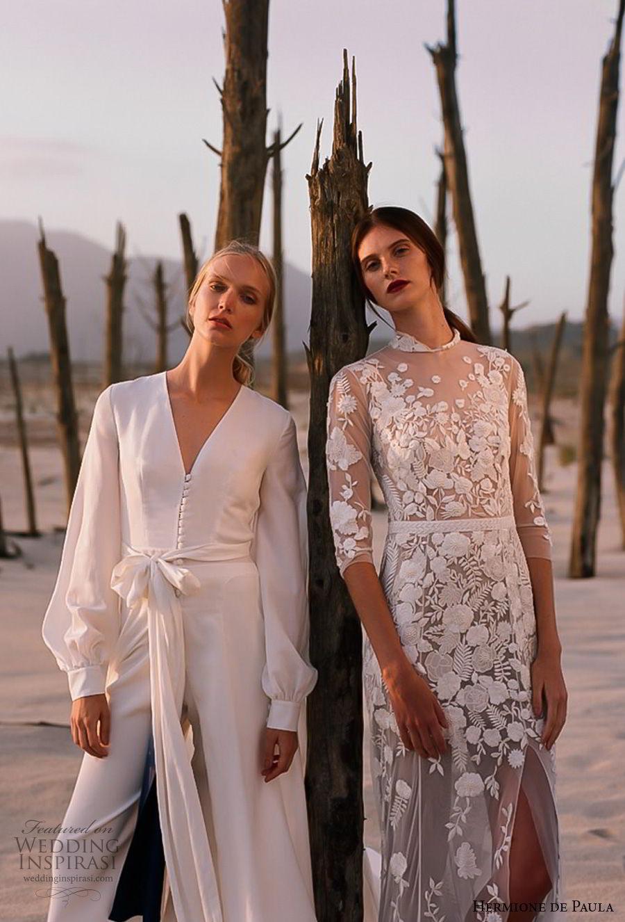 hermione de paula spring 2019 bridal three quarter sleeves jewel neck full embellishment slit skirt romantic sheath wedding dress (5) mv
