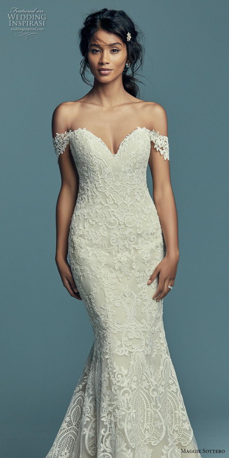 maggie sottero fall 2018 bridal off the shoulder sweetheart neckline full embellishment elegant romantic fit and flare wedding dress short train (18) mv
