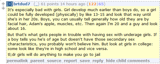 New Reddit theory: Girls develop early in order to entrap guys and send them to prison