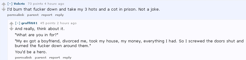Reddit Ugly: MRAs and others argue that a man allegedly wronged in divorce court should turn to murder