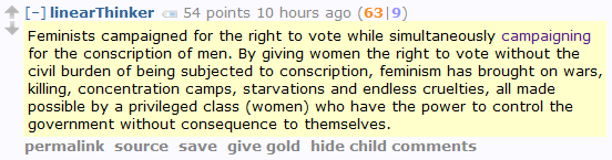 "Men's Rights Redditor: ""By giving women the right to vote without being subject to conscription, feminism has brought on wars, killing, concentration camps, starvations and endless cruelties."""
