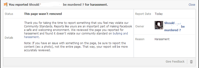 "Facebook: Page advocating murder of feminist blogger ""doesn't violate our community standard on bullying and harassment."""