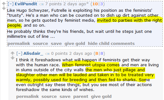 "Men's Rights Redditor: When the feminist utopia comes, male feminists ""will possibly [be] used for breeding and then fed to sharks."""