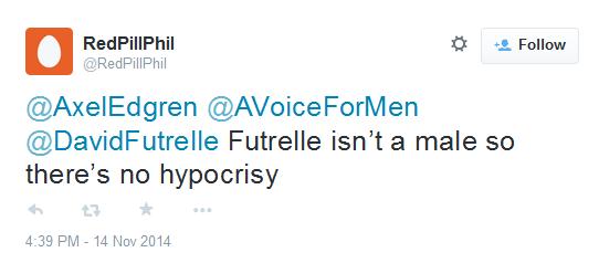 RedPillPhil Futrelle isn't a male so there's no hypocrisy