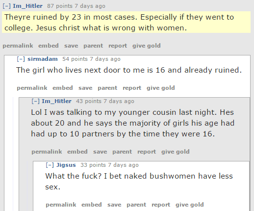 "Women are ""ruined by 23 in most cases. Especially if they went to college,"" Red Pillers agree"