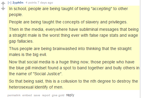 "Teaching people about slavery, tolerance will lead to destruction of ""the heterosexual identity of men,"" GamerGater explains"
