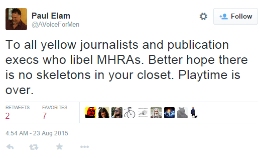 """Better hope there is [sic] no skeletons in your closet,"" Paul Elam warns those who allegedly lie about MRAs. ""Playtime is over."""