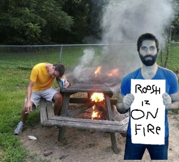 Roosh enjoys a picnic lunch
