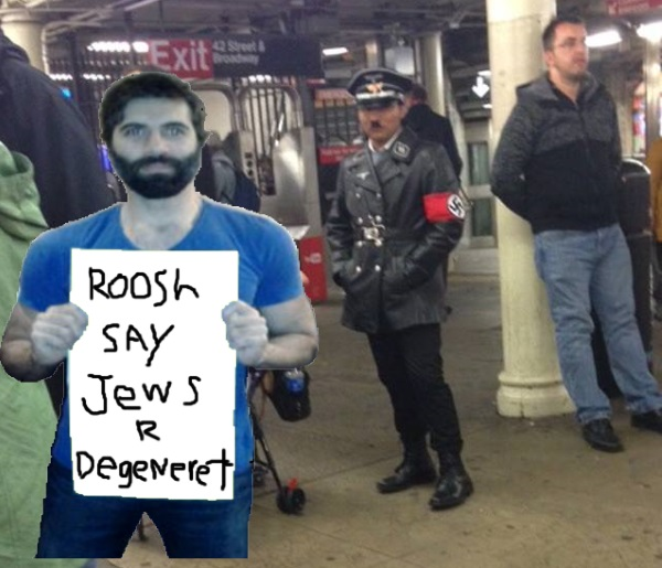 Roosh hanging out with a friend in New York city