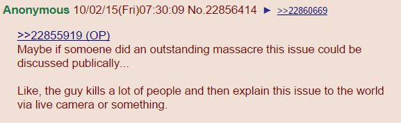 Maybe if somoene did an outstanding massacre this issue could be discussed publically... Like, the guy kills a lot of people and then explain this issue to the world via live camera or something.