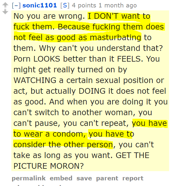 sonic1101[S] 4 points 1 month ago No you are wrong. I DON'T want to fuck them. Because fucking them does not feel as good as masturbating to them. Why can't you understand that? Porn LOOKS better than it FEELS. You might get really turned on by WATCHING a certain sexual position or act, but actually DOING it does not feel as good. And when you are doing it you can't switch to another woman, you can't pause, you can't repeat, you have to wear a condom, you have to consider the other person, you can't take as long as you want. GET THE PICTURE MORON?
