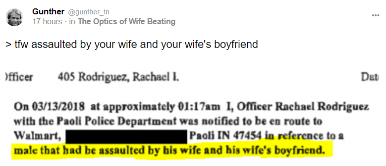 Gunther @gunther_tn 17 hours · in The Optics of Wife Beating > tfw assaulted by your wife and your wife's boyfriend