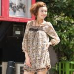 3/4-Sleeve Floral Chiffon Dress